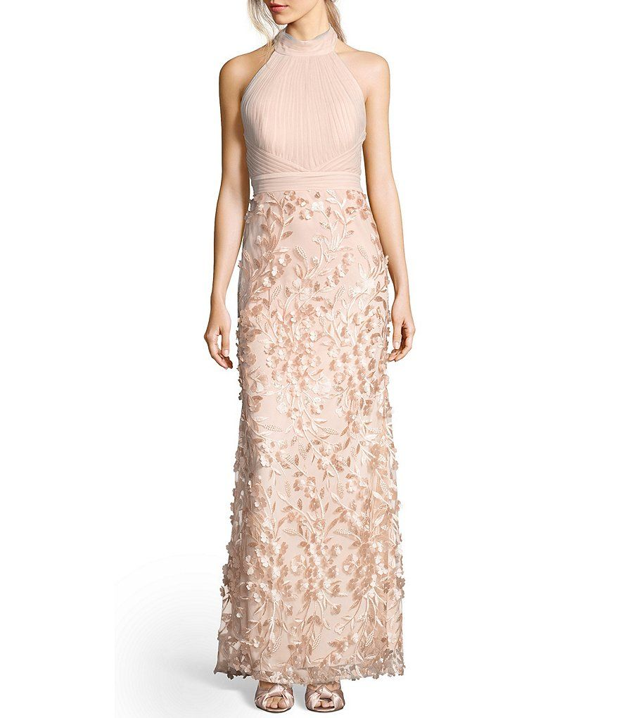 Adrianna papell mock neck tulle petal embroidery modified mermaid