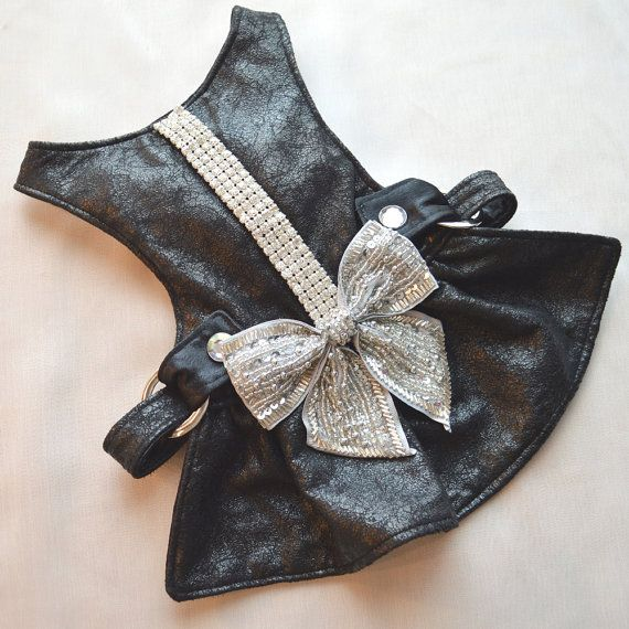 Small Dog Harness Dress Black Ice Bow Dress with by FooFooFido ...