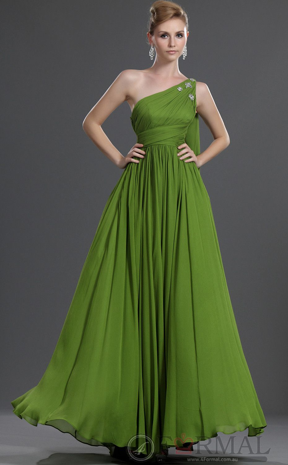 New one shoulder green long dress formal for party bdau at