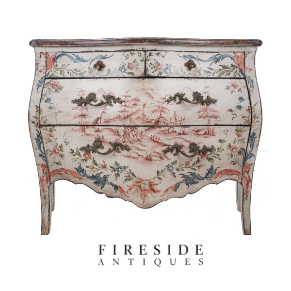 Sensational Hand Painted Bombe Chest Keywords:Brightly Painted Furniture,  Floral Interiors, Decorating With Color, Pastel Interiors, Yellow .
