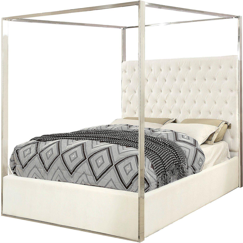 King size White Velvet Upholstered Tufted Canopy Bed Frame