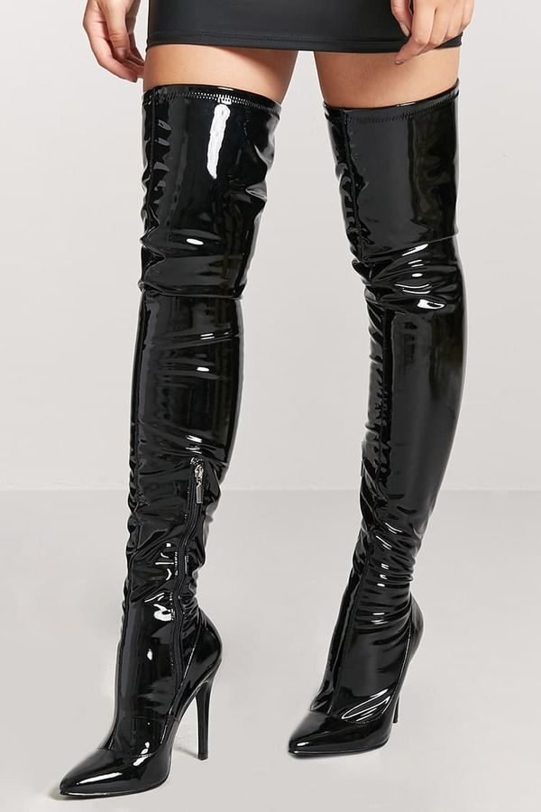 edb8d0b0411 FOREVER 21 Faux Patent Leather Thigh-High Boots  44.90