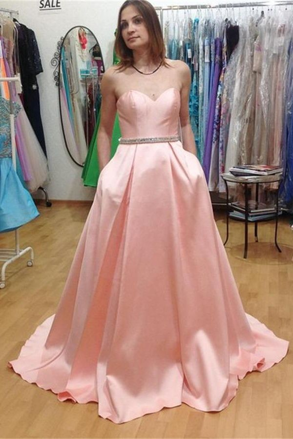 Simple Pink Handmade Long Prom Dresses,Long Party Dresses,Sweetheart ...