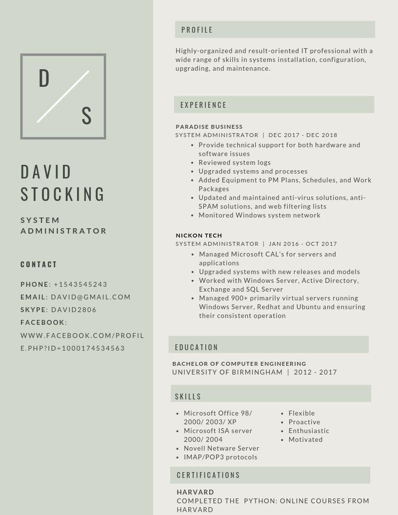 System Administrator Resume Samples & Templates [PDF+Word