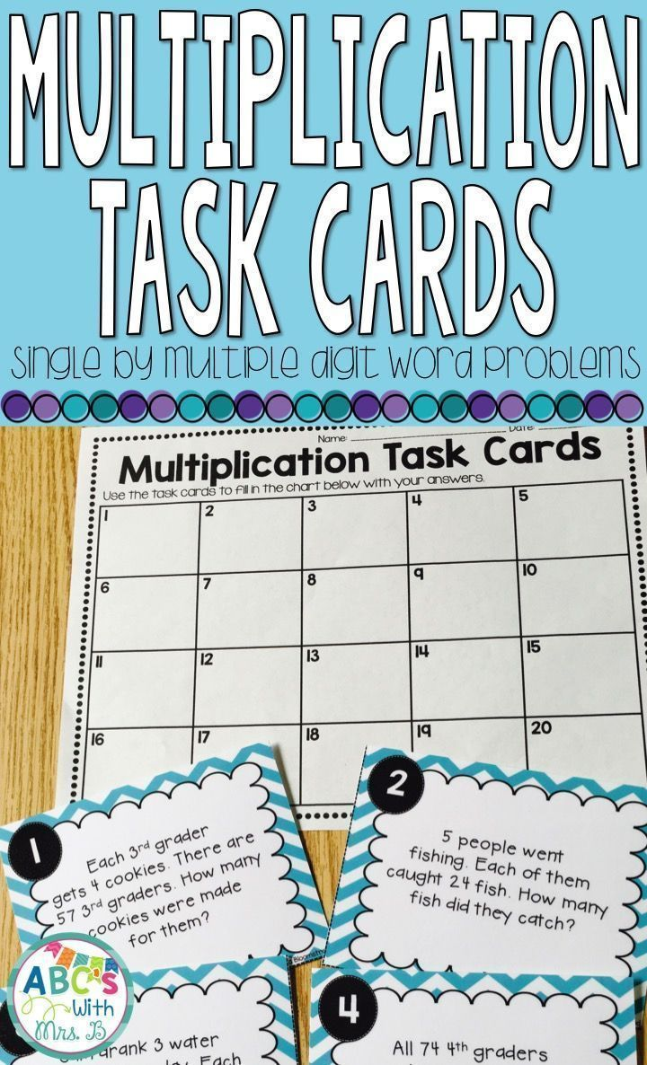 Multiplication Task Cards: Single by Multiple Digit Word Problems ...