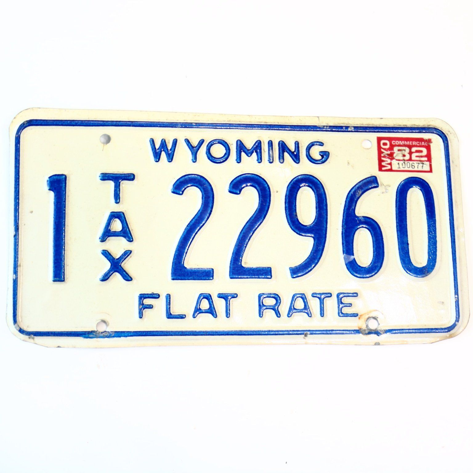 1982 Wyoming Flat Tax Natrona County License Plate 22960