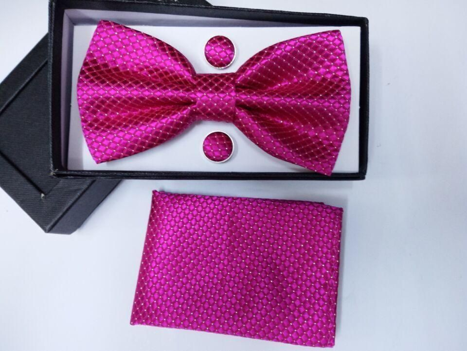 SHENNAIWEI New men vintage Jacquard bow tie set bowtie Handkerchief cufflinks gift box Red Blue Yellow
