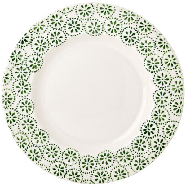 "Green Daisy Spot 10 1/2"" Plate (41 CAD) ❤ liked on Polyvore featuring home and kitchen & dining"