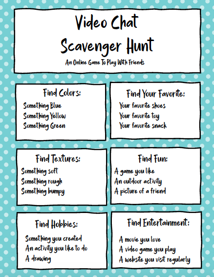 Check out this Video Chat Scavenger Hunt Printable! It's a great way to connect with family and friends even when you're apart. #scavengerhuntprintable #printablesforkids #kidsactivities #socialdistancinggames
