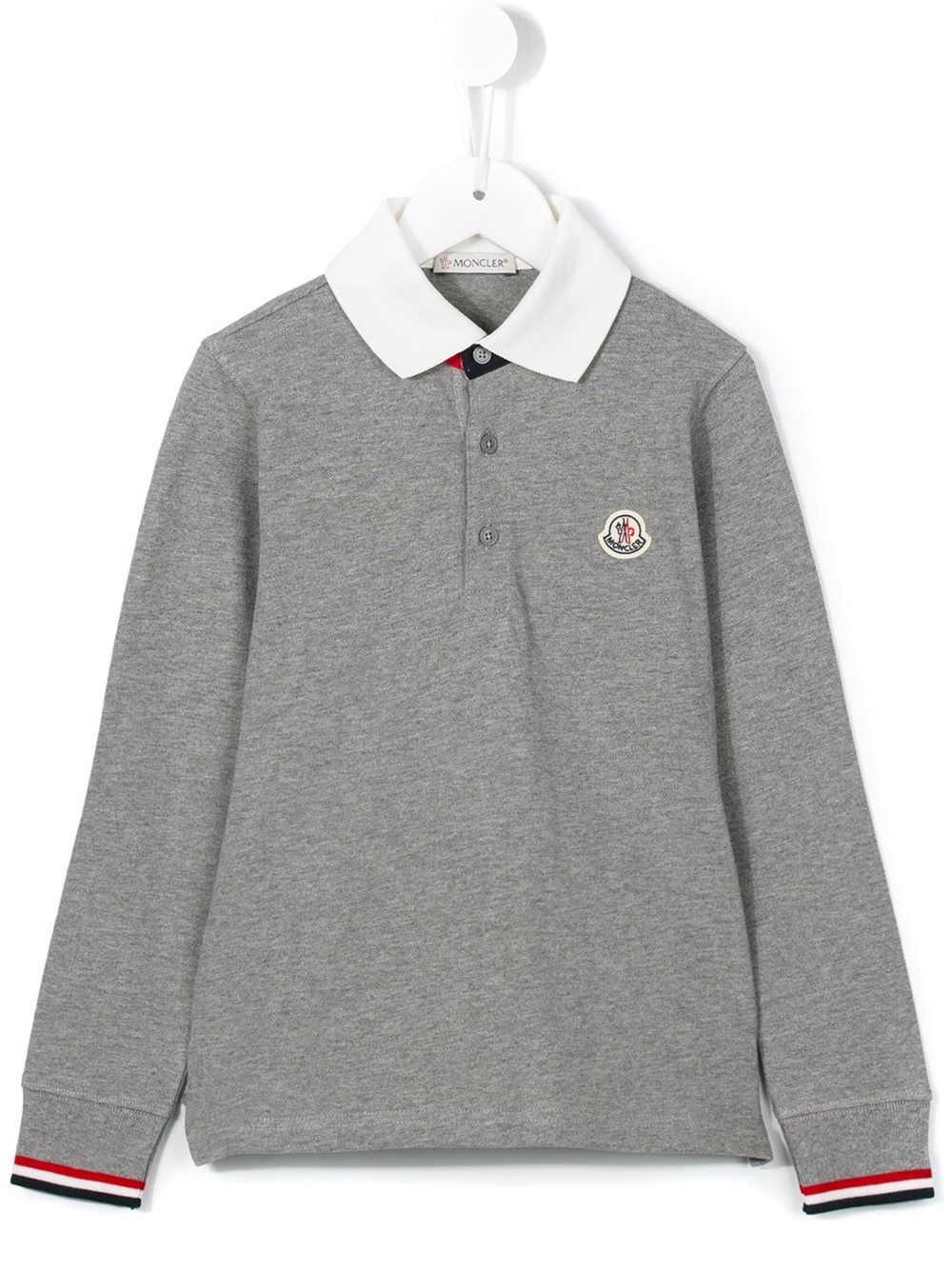 977faff76 moncler  kids  grey  poloshirt  long  sleeves  kidswear  boy www ...