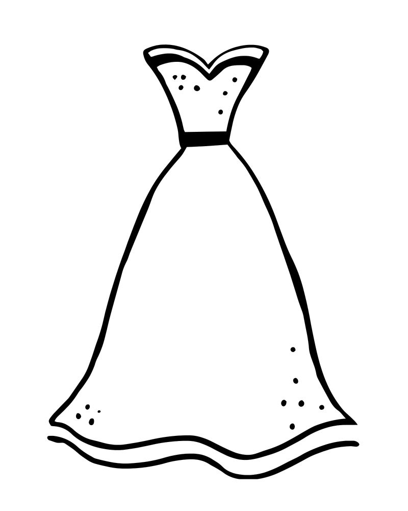 Printable Formal Dress Coloring Page Wedding Coloring Pages