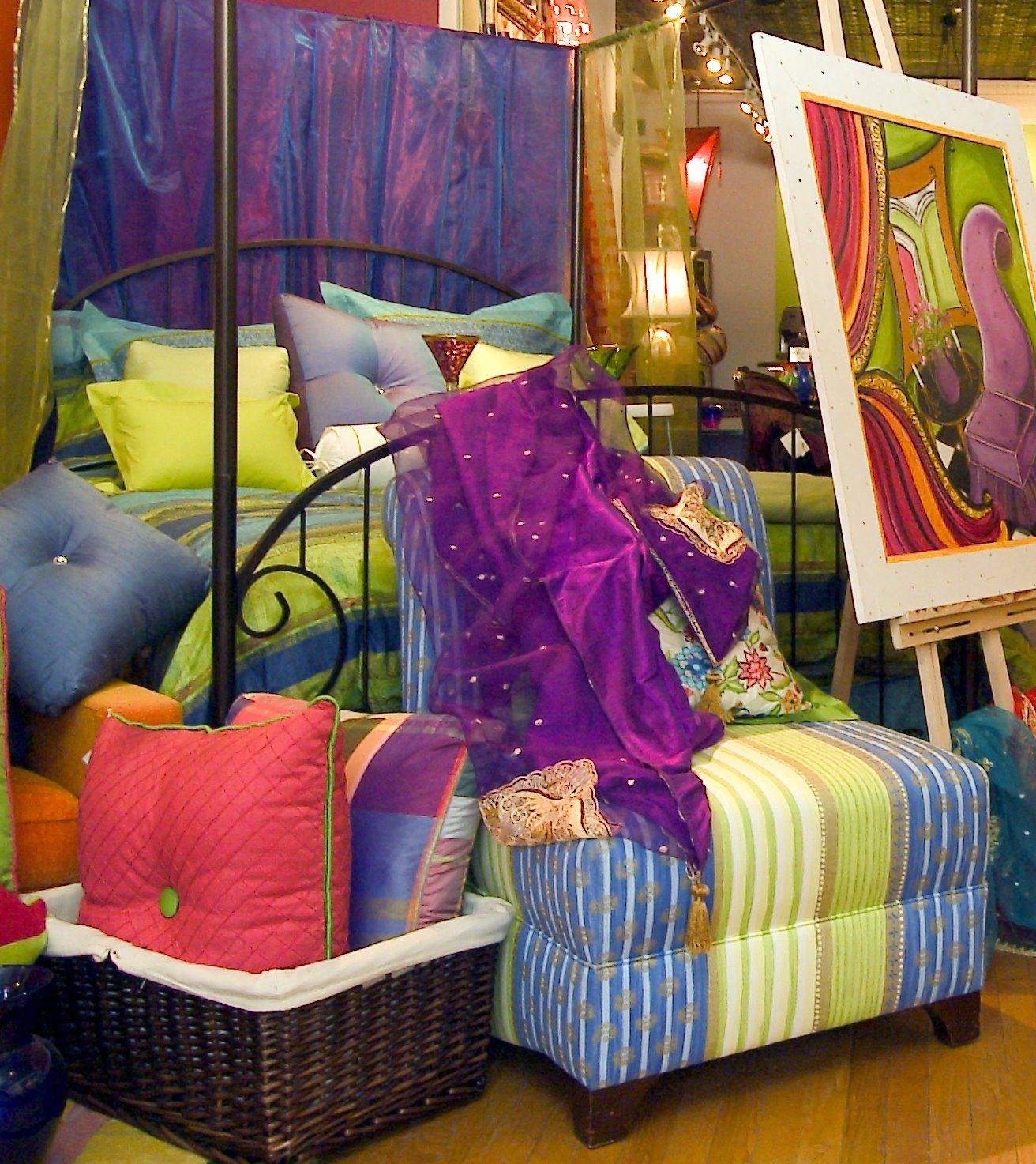 Cobalt Blue And Lime Green Bedding And Chair From Jane