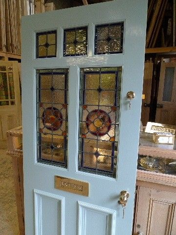Victorian Style 7 Panel Stained Gl Front Door In White
