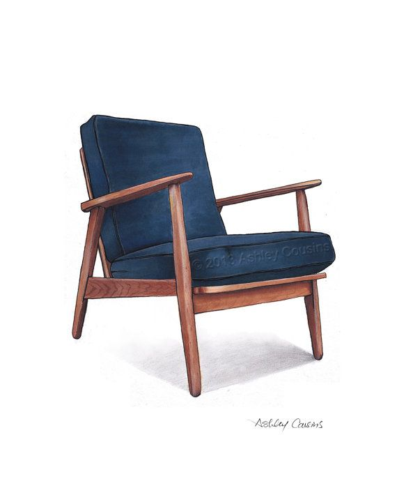 Mid Century Modern Danish Teak Chair Drawing Navy Blue 8x10 In