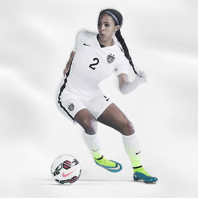 Nike women's USA Home Stadium Jersey 2015 - White / Black