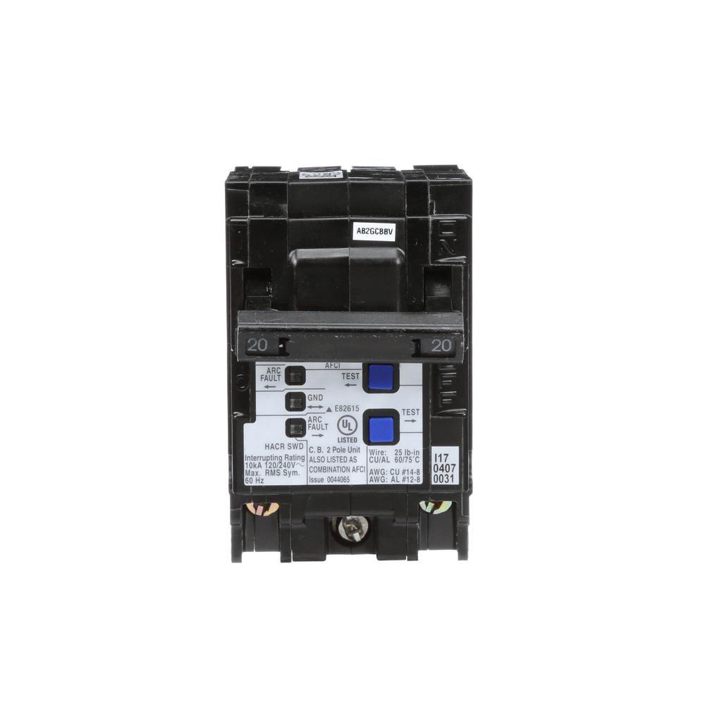 Siemens 20 Amp Double Pole Wireguide Afci Circuit Breaker Products Arc Fault Interrupters Afcis