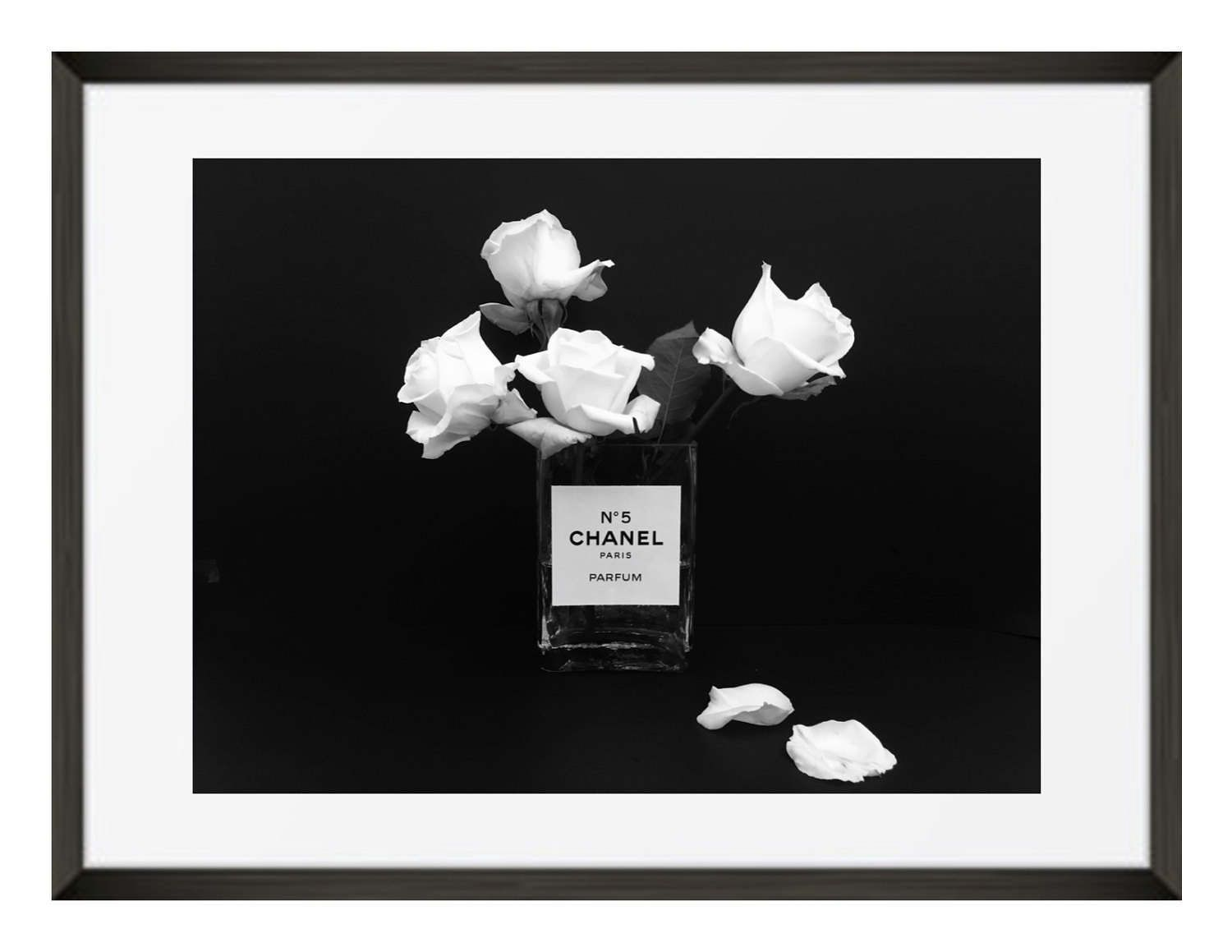 Chanel photograph black and white photography chanel no 5 glass flower vase with white roses small poster size print art 11 x 14 unframed by