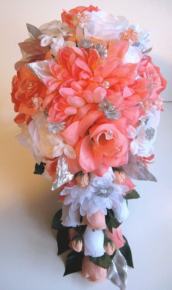 Wedding Bouquet Bridal Silk flowers Cascade CORAL PEACH GRAY Silver ...