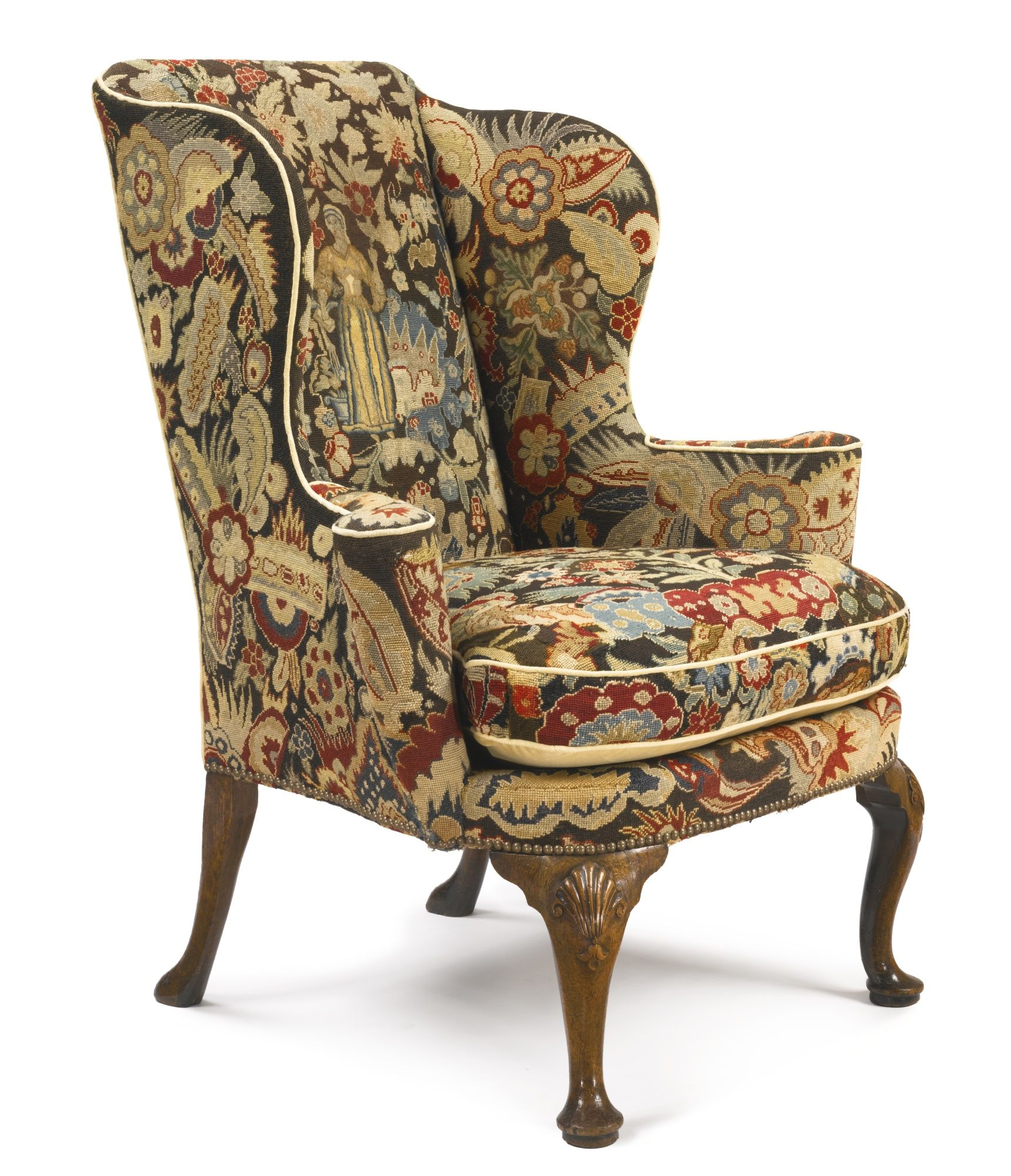 Merveilleux George II Needlework Upholstered Walnut Wing Armchair   Circa 1730 L  SOTHEBYu0027S AUCTION OF THE COLLECTION OF NIKI U0026 JOE GREGORY NIKI U0026 JOE  GREGORY THE 24th ...