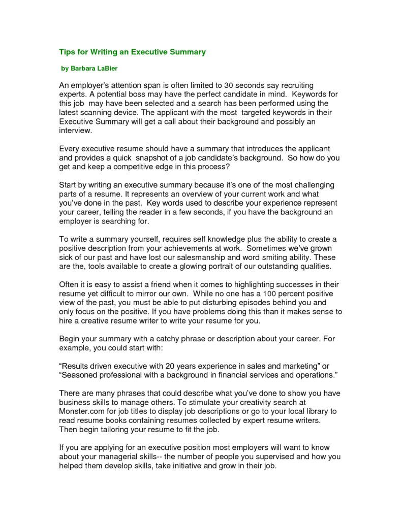 Summary For Resume Example Executive Format Pdf Combination Director