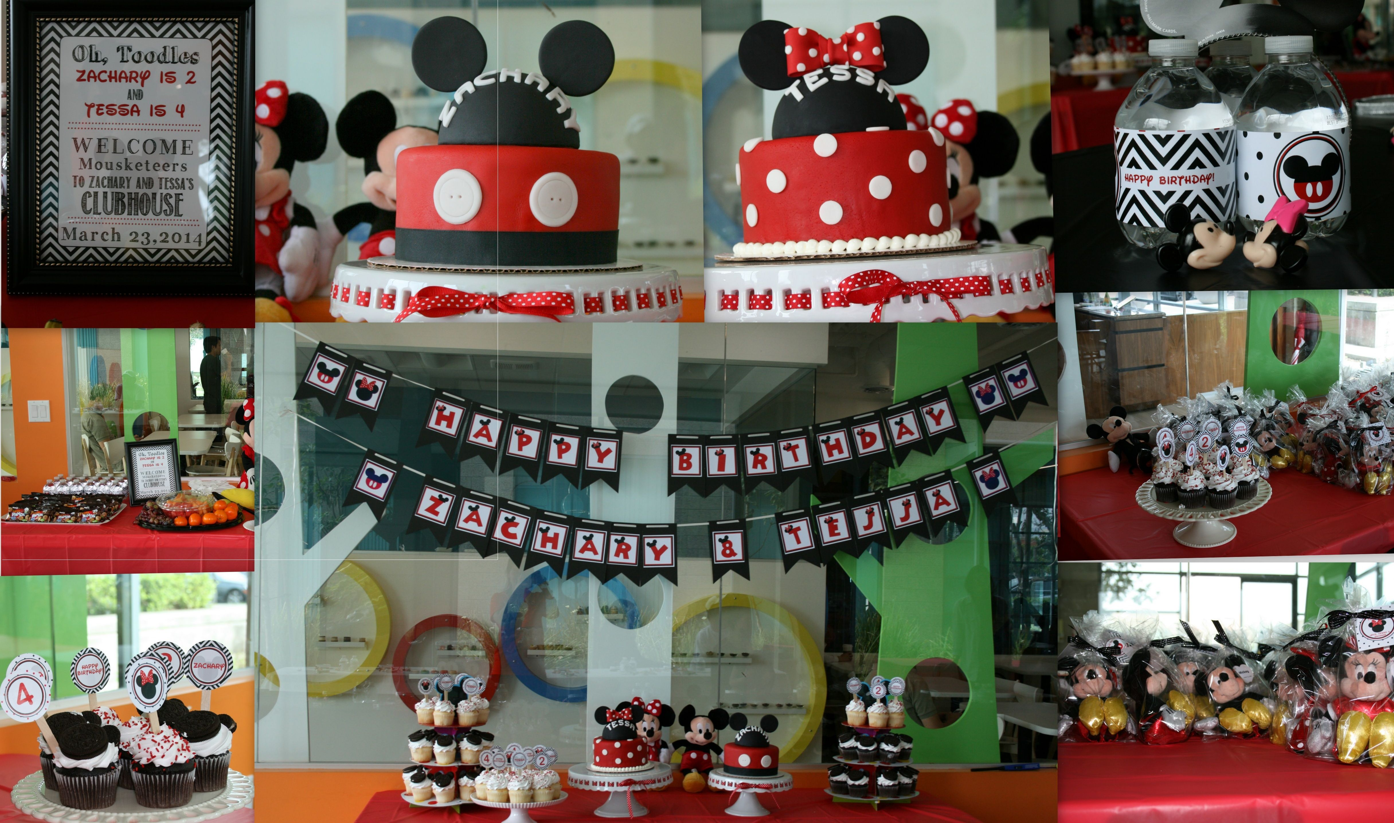 Fellow #Mouseketeers celebrated Zachary and Tessa's #birthdays alongside #Mickey and #Minnie at #PlaylandCafe!  Elegantly decorated affair with delightful #cupcakes, cool grab bags, and topped off with twin amazing #cakes!  We had a great time with the birthday family and friends. Thank you for spending your special day with us!