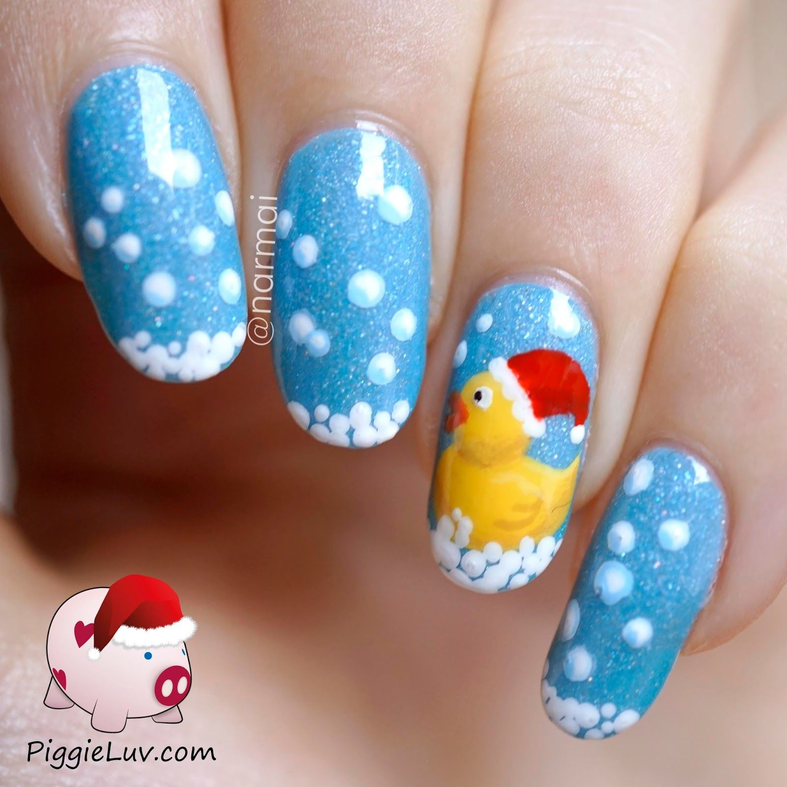 Piggieluv Rainbow Bubbles Nail Art: Rubber Ducky Nail Art With Santa Hat For Christmas