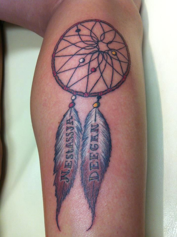 Dream Catcher Tattoo With Names