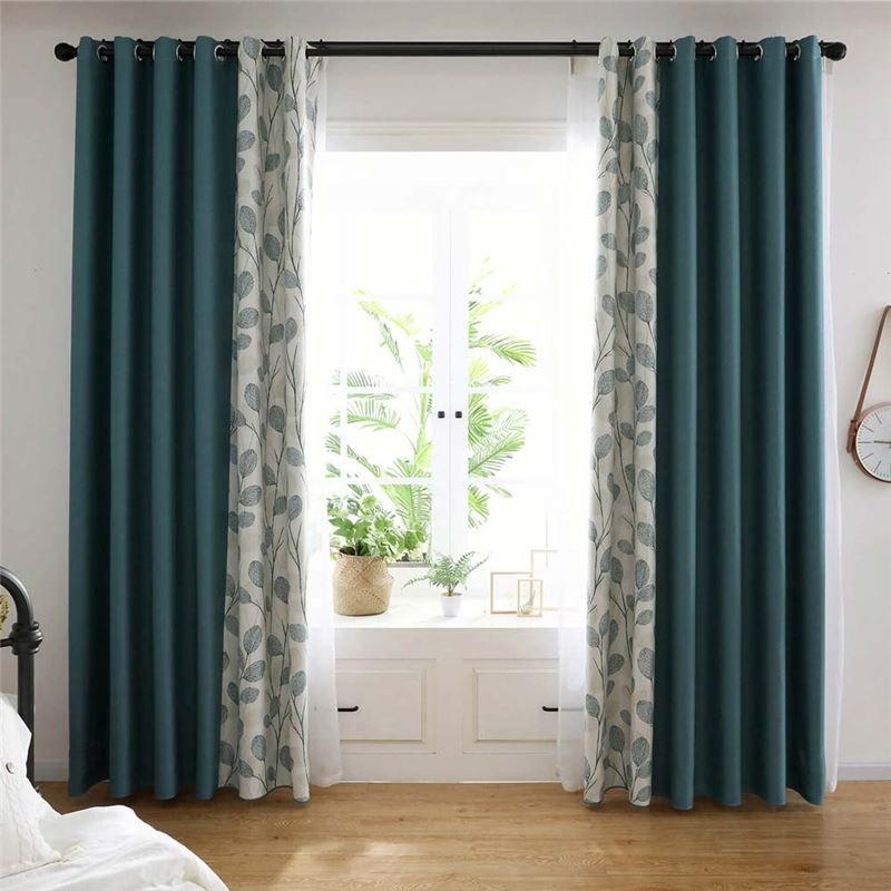 Contemporary Green Splicing Curtain Leaf Pattern Curtain Living