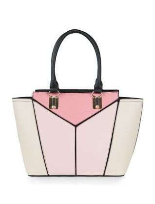 542a6f0ce8b4 Pink Geometric Panelled Tote Bag
