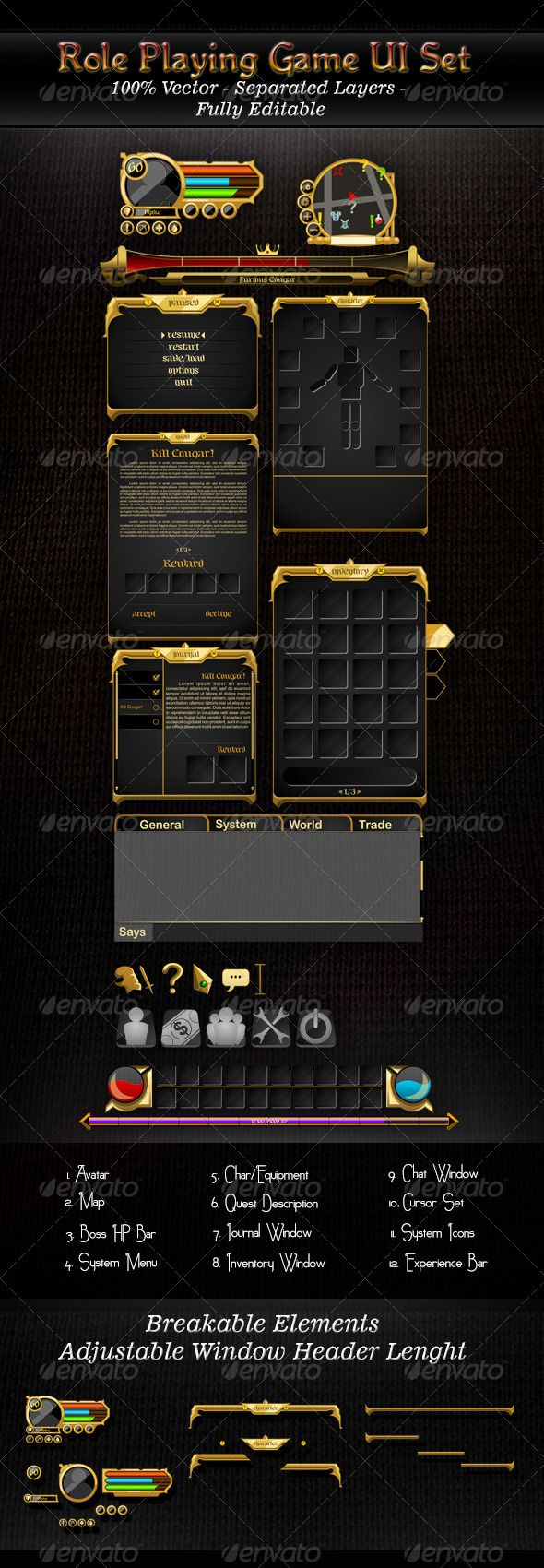 An RPG UI set, suitable for fantasy theme game  100 vector