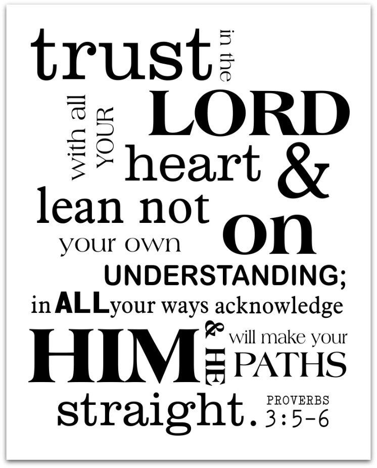 Trust in the Lord Scripture Art Print Proverbs 3