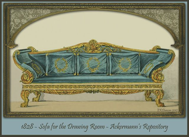 Regency Furniture 1823 1828: Ackermannu0027s Repository Series 3. A Variety Of  Furnishings From