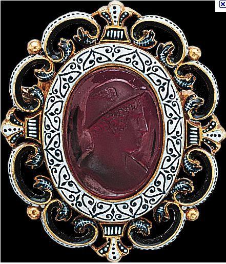Ruby Cameo brooch