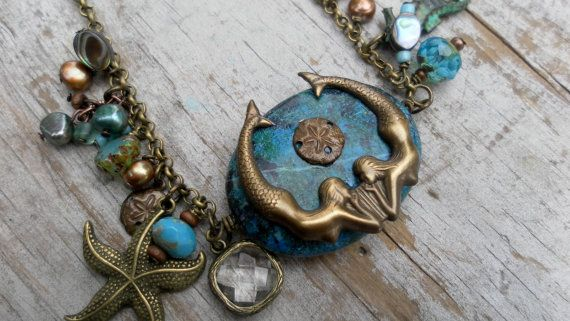 Turquoise Mermaid Necklace Starfish Sanddollar by TeslaDesigns, $47.00