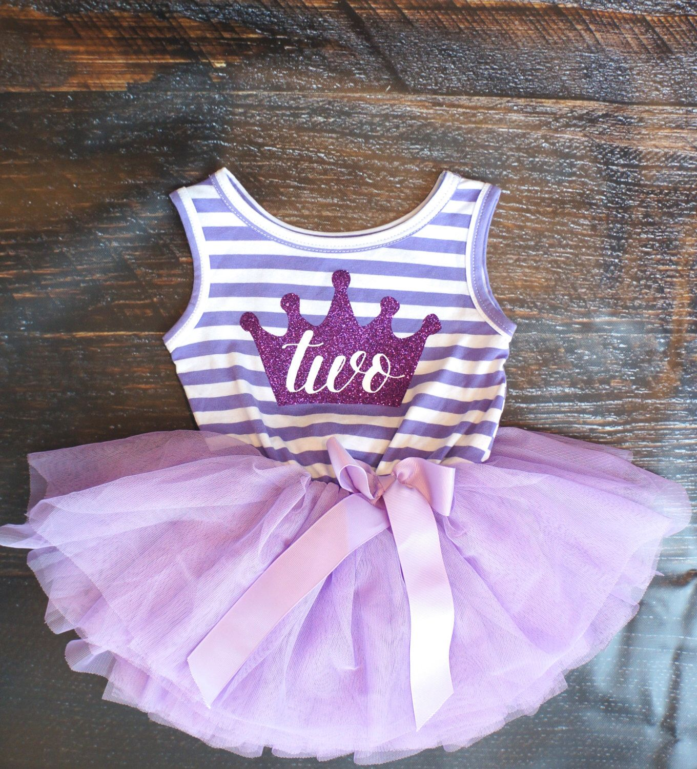 Second Birthday Outfit Dress With Purple Crown And Purple