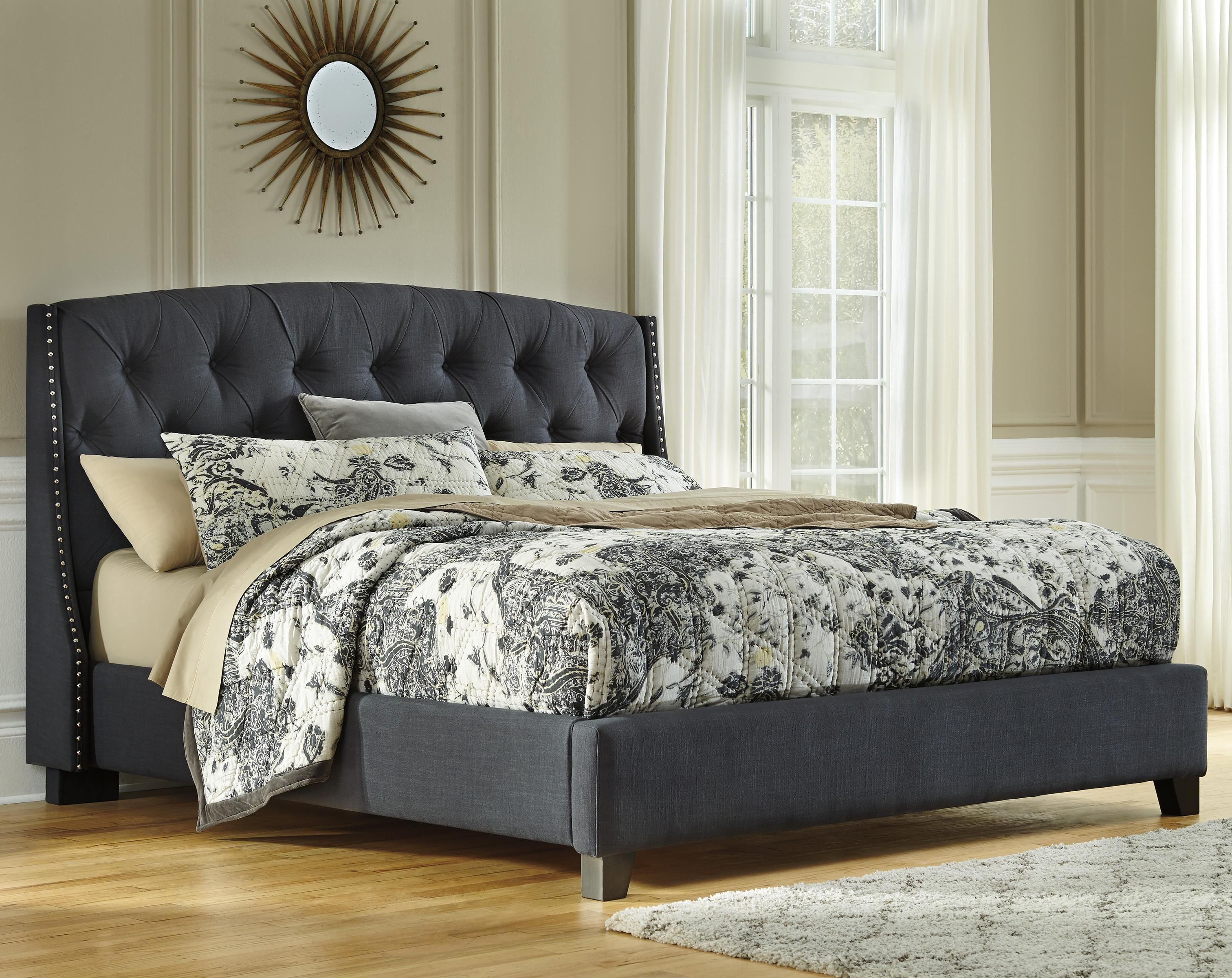 Best Signature Design By Ashley Kasidon King Upholstered Bed Item Number B600 558 556 597 Grey 400 x 300
