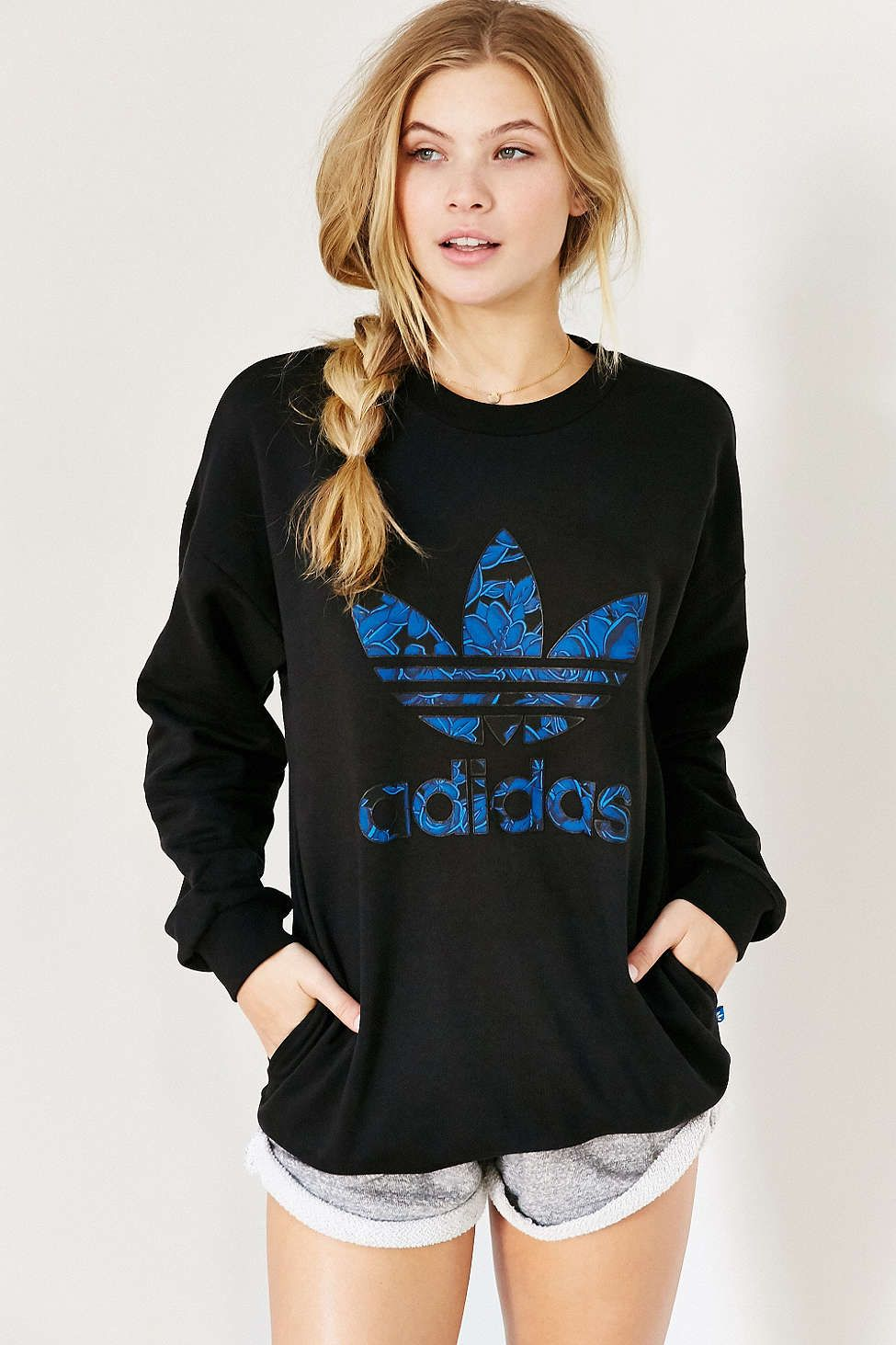 Adidas Blue Floral Sweatshirt Urban Outfitters Urban Wear Blue Floral Sweatshirt Clothes [ 1463 x 975 Pixel ]