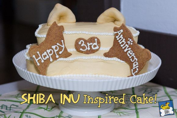 Shiba Inu Inspired 2 tier Doggie Cake!  Okinawan Sweet Potato and Banana flavored.  Made especially for Shiba Inu Hawaii (www.shibainuhawaii)