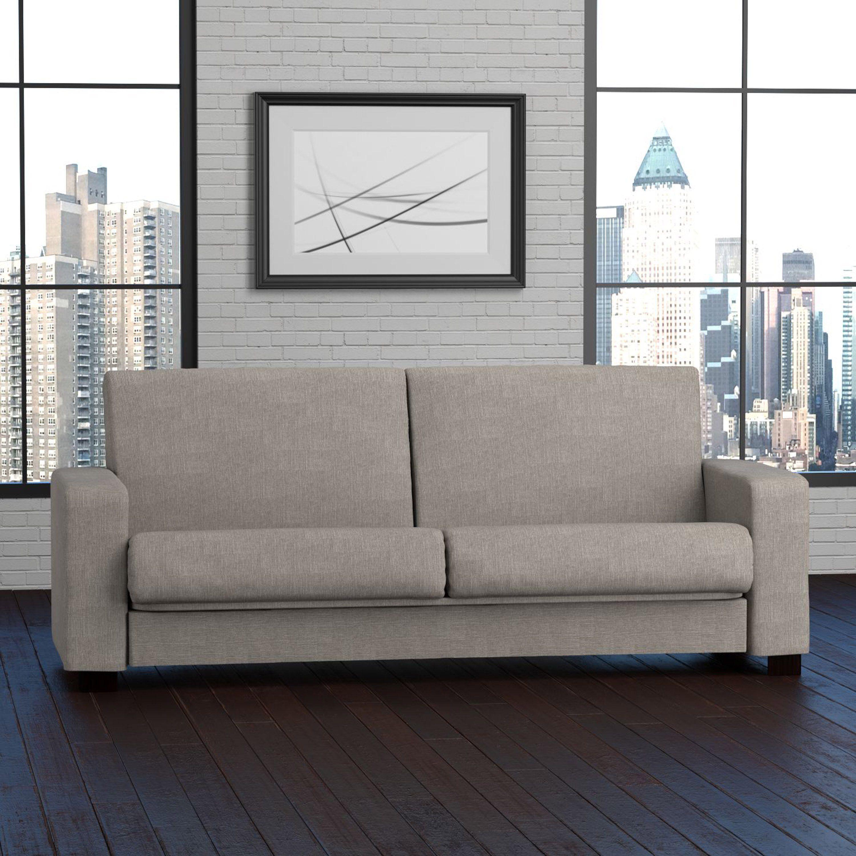 Handy Living Tempo Convert A Couch Dove Grey Linen Futon Sleeper Sofa