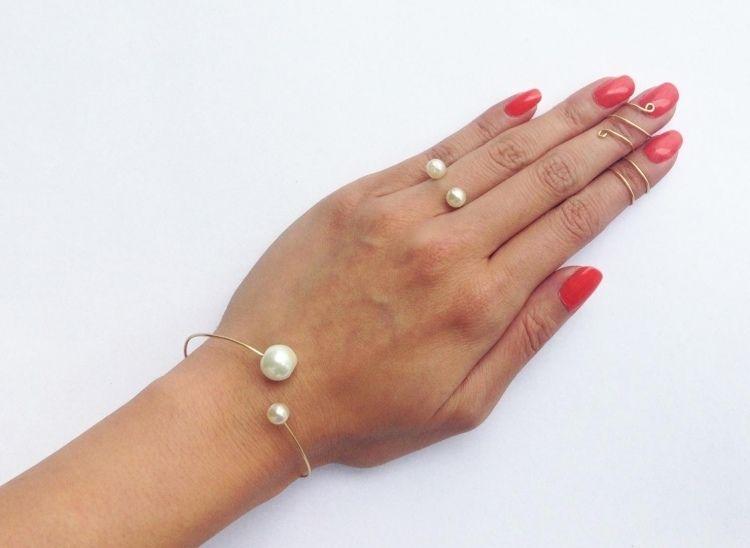 schmuck selber machen. Midi-Ring, Perlenring und Armband aus ...