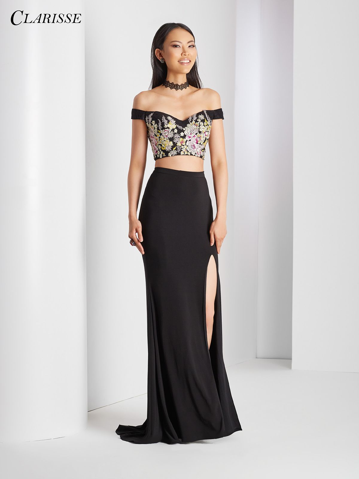Off the shoulder floral two piece prom black prom dresses