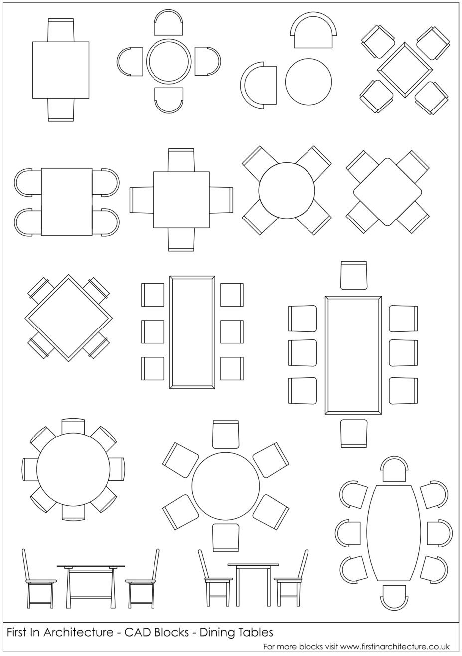 Fia Cad Blocks Dining Tables Architectural Drawings Pinterest