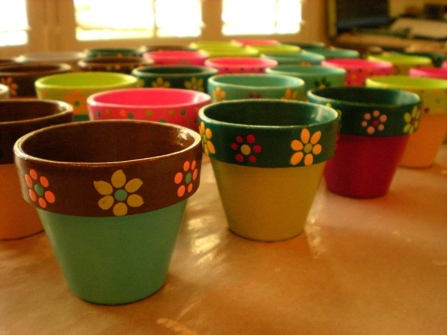 Small flower pots hand painted wedding and bridal for Small clay pots