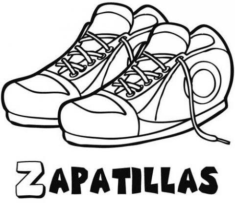 Zapatillas deportivas Dibujos para colorear  joeys bday  Pinterest