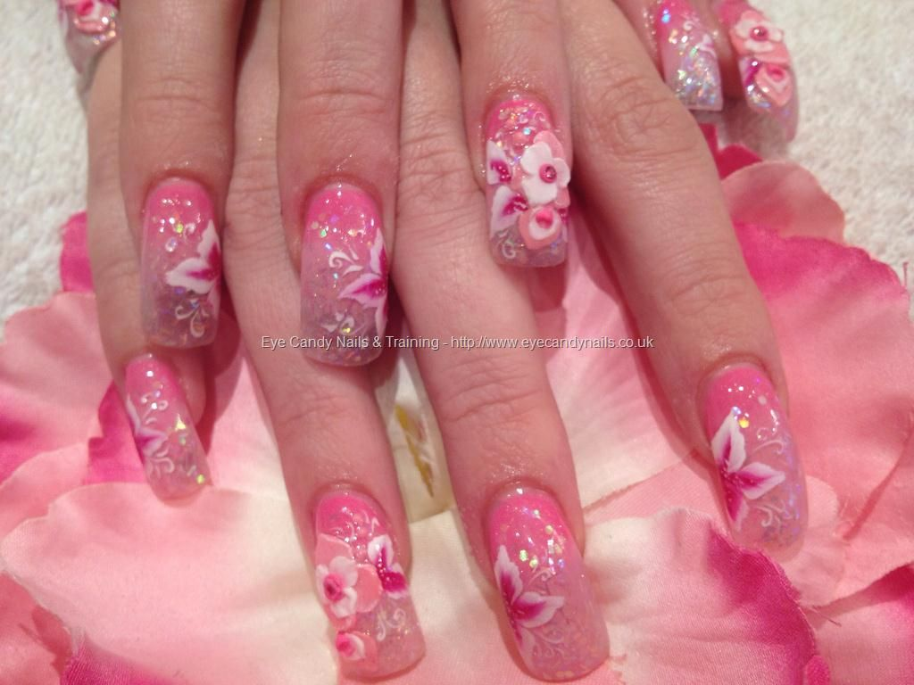 3d acrylic nail art with one stroke flowers Opposite pink and ...