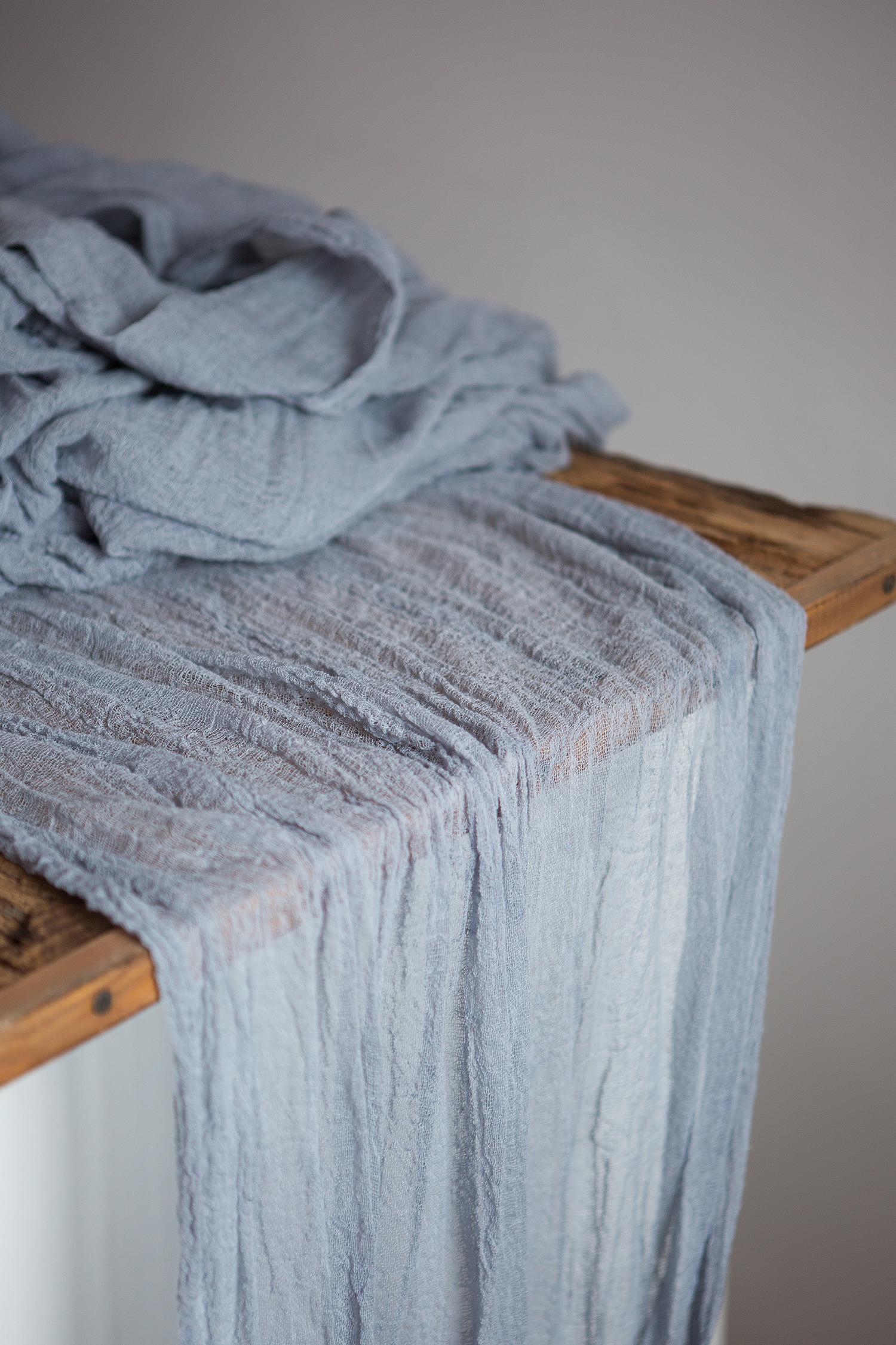 Dusty Blue Gauze Runner Centerpiece Cheesecloth Runner Rustic