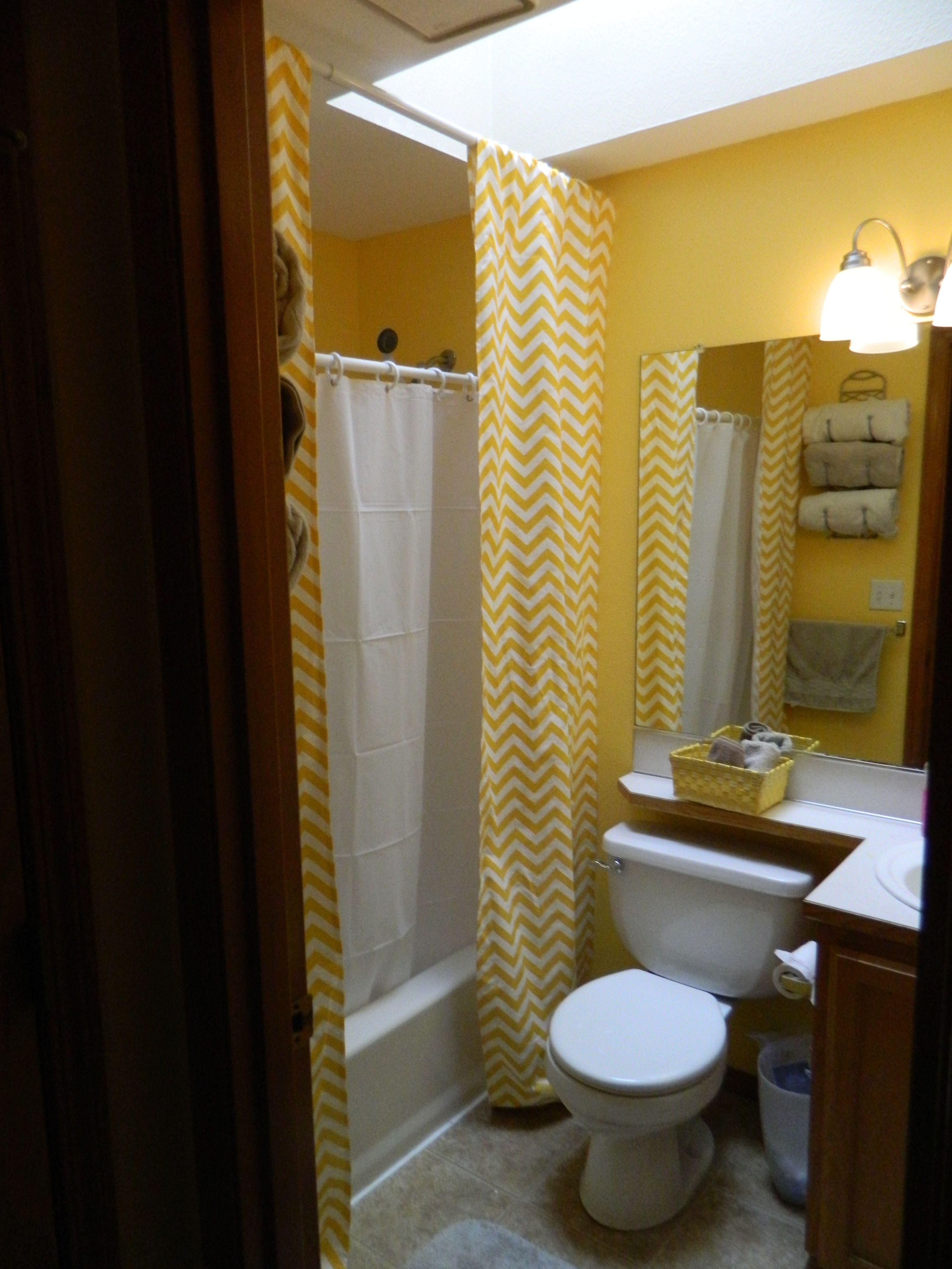 Tall Shower Curtains And Horizontal Lines Plus White Walls Make A Small Bathroom Bigger Farmhouse Renovation