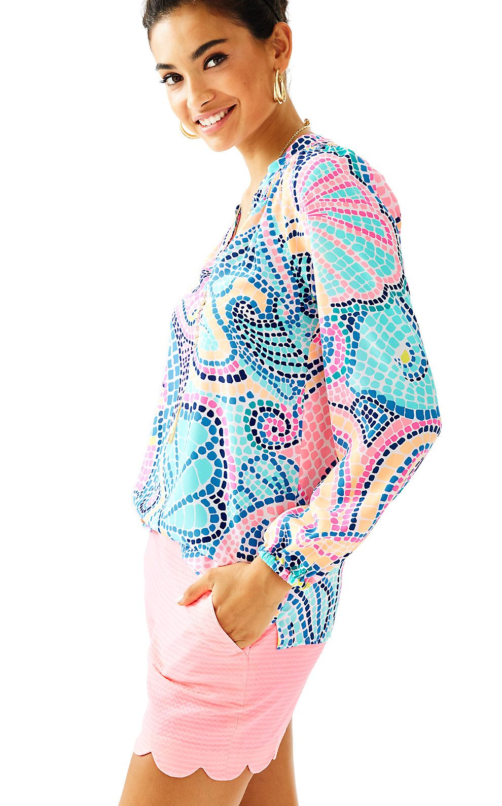 Lilly Pulitzer Womens Elsa Silk Top - Tile Wave