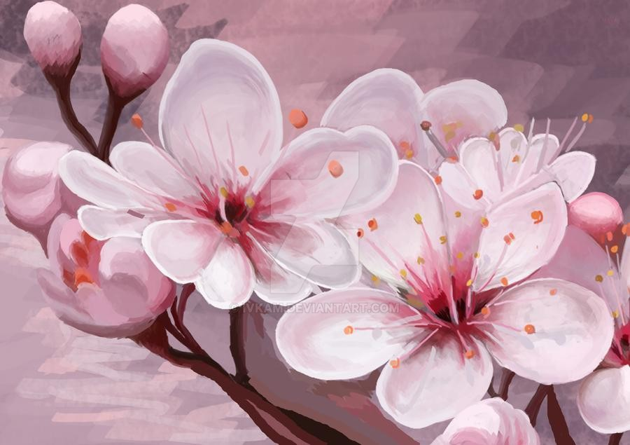 Cherry Blossom Concept Art By Ivkam On Deviantart Cherry Blossom Art Cherry Blossom Painting Acrylic Cherry Blossom Painting