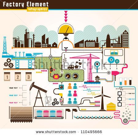Set Of Factory Infographics Factory Info Graphics Vector Illustrator By Doggygraph Via Shutterstock Infographic Illustration Graphic
